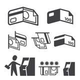 De vector geplaatste pictogrammen van ATM, van het Contante geld, van de Creditcard en van de Betaling Royalty-vrije Stock Afbeeldingen