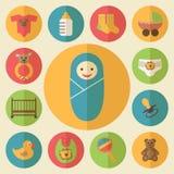 De vector geplaatste pictogrammen van babygoederen Stock Foto