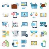 De Vector Geplaatste Pictogrammen van de bedrijfsconceptenkleur royalty-vrije illustratie
