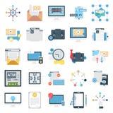 De Vector Geplaatste Pictogrammen van de bedrijfsconceptenkleur stock illustratie