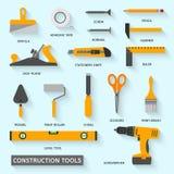 De vector geplaatste pictogrammen van bouwhulpmiddelen Stock Fotografie