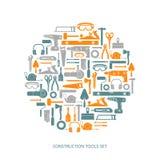 De vector geplaatste pictogrammen van bouwhulpmiddelen Royalty-vrije Stock Foto