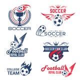 De vector geplaatste pictogrammen van de clubtoernooien van de voetbalvoetbal Royalty-vrije Stock Fotografie