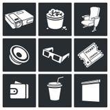 De Vector Geplaatste Pictogrammen van de bioskoopzaal Royalty-vrije Stock Foto's