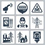 De vector geplaatste pictogrammen van de machtsindustrie stock illustratie
