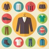 De vector geplaatste pictogrammen van de mensenkleding Stock Fotografie