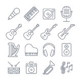 De vector geplaatste pictogrammen van de muzieklijn Stock Foto's