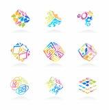 De vector geplaatste pictogrammen van de netwerkkubus Royalty-vrije Stock Afbeeldingen