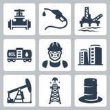 De vector geplaatste pictogrammen van de olieindustrie Stock Afbeelding