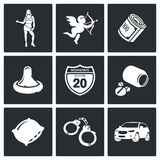 De Vector Geplaatste Pictogrammen van de straatprostitutie Royalty-vrije Stock Fotografie