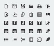 De vector geplaatste pictogrammen van de tekstredacteur stock illustratie