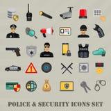 De vector geplaatste pictogrammen van de veiligheidspolitie, de veiligheid van de Webbank Royalty-vrije Stock Foto