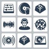 De vector geplaatste pictogrammen van DJ en van de muziek Stock Afbeelding