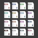 De vector geplaatste pictogrammen van dossieruitbreidingen Stock Foto's