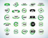 360 de Vector geplaatste Pictogrammen van de gradenmening Virtuele Werkelijkheidspictogrammen Geïsoleerde vectorillustraties Groe Stock Fotografie