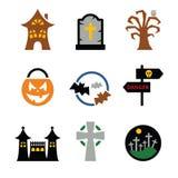 De vector geplaatste Pictogrammen van Halloween Stock Foto