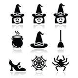 De vector geplaatste pictogrammen van heksenhalloween Stock Afbeelding