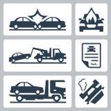 De vector geplaatste pictogrammen van het autoongeval Stock Foto's