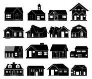 De vector geplaatste pictogrammen van het huis Stock Foto