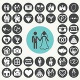 De vector geplaatste pictogrammen van het huwelijk Royalty-vrije Stock Foto