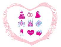 De vector geplaatste pictogrammen van het huwelijk Royalty-vrije Stock Afbeelding