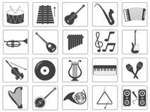 De vector Geplaatste Pictogrammen van het Muziekinstrument Stock Foto