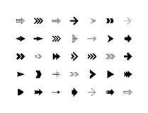 De vector geplaatste pictogrammen van het pijlteken stock illustratie