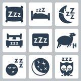 De vector geplaatste pictogrammen van het slaapconcept Royalty-vrije Stock Fotografie