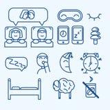 De vector geplaatste pictogrammen van het slaapconcept Stock Foto