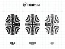 De Vector Geplaatste Pictogrammen van het vingerafdrukaftasten vector illustratie