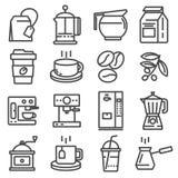 De vector geplaatste pictogrammen van de lijnkoffie Royalty-vrije Stock Fotografie