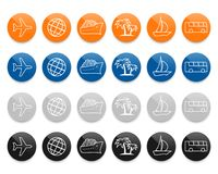 De vector geplaatste pictogrammen van de reislijn stock illustratie
