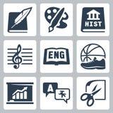 De vector geplaatste pictogrammen van schoolonderwerpen: literatuur, kunst, geschiedenis, muziek, het Engels, PE, economie, vreemd Stock Afbeelding