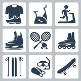 De vector geplaatste pictogrammen van sportengoederen Royalty-vrije Stock Afbeeldingen