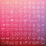 De vector geplaatste pictogrammen van Valentine Stock Afbeelding