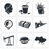 De Vector Geplaatste Pictogrammen van Verenigde Staten Royalty-vrije Stock Afbeeldingen