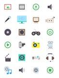 De vector geplaatste pictogrammen van verschillende media Stock Foto
