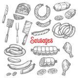 De vector geplaatste pictogrammen van de worstproducten van het schetsvlees Stock Afbeeldingen