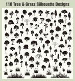 De vector Geplaatste Silhouetten van de Boom & van het Gras Stock Afbeeldingen
