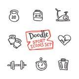 De vector geplaatste sporten van de lijnpictogrammen van de krabbelstijl Leuke hand getrokken inzameling van sportvoorwerpen Stock Foto's