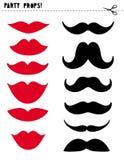 De Vector Geplaatste Steunen van de voor het drukken geschikte Fotocabine Rode Lippen en Zwarte Snor DIY stock illustratie
