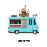 De vector geïsoleerde illustratie van het aanhangwagen snelle voedsel Stock Afbeeldingen