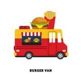 De vector geïsoleerde illustratie van het aanhangwagen snelle voedsel Stock Foto