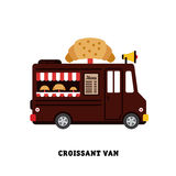 De vector geïsoleerde illustratie van het aanhangwagen snelle voedsel Stock Afbeelding