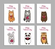 De vector grappige dieren overhandigen getrokken beeld voor Valentijnskaartendag Royalty-vrije Stock Afbeeldingen