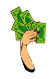 De vector grappige vrouwelijke hand met de Hand van het contant geldgeld met geld isoleert Stock Foto's