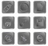De vector grijze vierkante Webknopen plaatsen 3 Stock Afbeeldingen