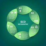 De vector groene bladeren omcirkelen rond infographic teken Malplaatje voor diagram, grafiek, presentatie en grafiek Ecoconcept m Stock Afbeelding