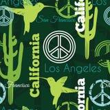 De vector Groene Dieren van Californië reizen Naadloos Patroon met Los Angeles, San Francisco, Kolibries, en Vredessymbolen Stock Afbeeldingen