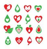 De vector groene en rode organisch, natuurlijk, biologie, gezondheid, wellness, hart, blad en reeks van het dalingspictogram Stock Foto